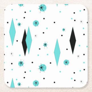 Retro Turquoise Diamonds & Starburst Paper Coaster Square Paper Coaster