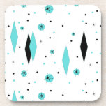 "Retro Turquoise Diamonds Starburst Plastic Coaster<br><div class=""desc"">This Retro Turquoise Diamonds and Starbursts Hard Plastic Coaster is a new take on a vintage style. It features kitschy, black starbursts on turquoise polka dots, surrounding geometric, turquoise and black diamond shapes. Customize the background color on this mid century modern product if you&#39;re feeling daring, or leave it white...</div>"