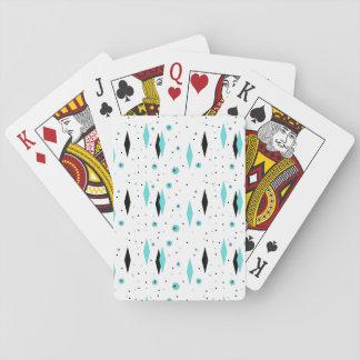 Retro Turquoise Diamonds & Starburst Playing Cards