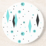 """Retro Turquoise Diamonds &amp; Starburst Stone Coaster<br><div class=""""desc"""">This Retro Turquoise Diamonds and Starbursts Sandstone Coaster is a new take on a vintage style. It features kitschy, black starbursts on turquoise polka dots, surrounding geometric, turquoise and black diamond shapes. Customize the background color on this mid century modern product if you&#39;re feeling daring, or leave it white if...</div>"""