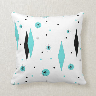 Retro Turquoise Diamonds & Starburst Throw Pillow