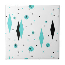 Retro Turquoise Diamonds & Starbursts Ceramic Tile