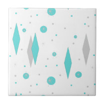 Retro Turquoise Diamonds & Starbursts Ceramic Tilw Tile