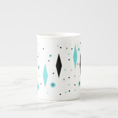 Retro Turquoise Diamonds & Starbursts China Mug at Zazzle