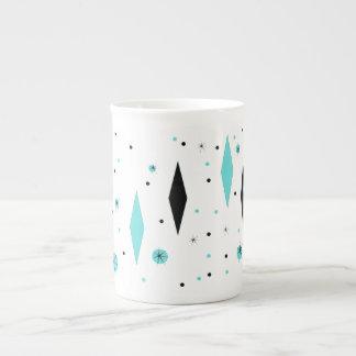 Retro Turquoise Diamonds & Starbursts China Mug Tea Cup