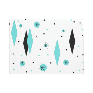 Retro Turquoise Diamonds & Starbursts Door Mat