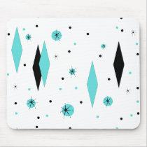 Retro Turquoise Diamonds & Starbursts Mousepad