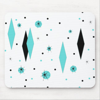Retro Turquoise Diamonds & Starbursts Mousepad