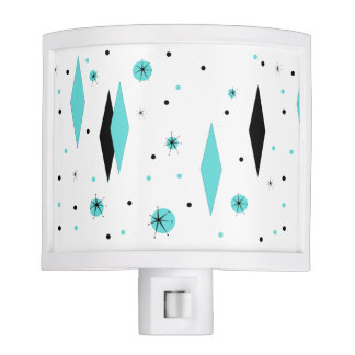Retro Turquoise Diamonds & Starbursts Night Light