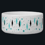 """Retro Turquoise Diamonds &amp; Starbursts Pet Bowl<br><div class=""""desc"""">This Retro Turquoise Diamonds and Starbursts Ceramic Pet Bowl is a new take on a vintage style. It features kitschy, black starbursts on turquoise polka dots, surrounding geometric, turquoise and black diamond shapes. Customize the background color on this mid century modern product if you&#39;re feeling daring, or leave it white...</div>"""