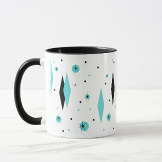Retro Turquoise Diamonds & Starbursts Ringer Mug