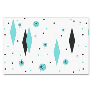 Retro Turquoise Diamonds & Starbursts Tissue Paper