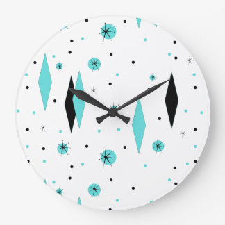 Retro Turquoise Diamonds & Starbursts Wall Clock
