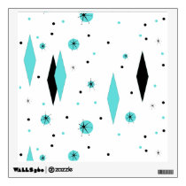 Retro Turquoise Diamonds & Starbursts Wall Decal