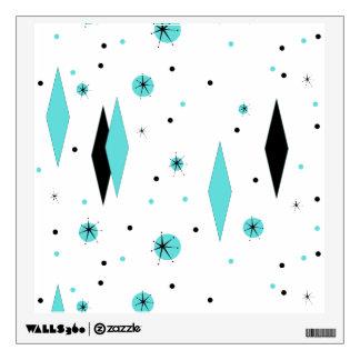 Retro Turquoise Diamonds & Starbursts Wall Decal