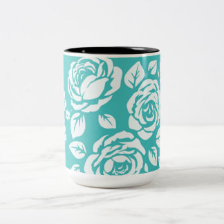Retro_Turquoise_Floral(c)__Unisex Two-Tone Coffee Mug
