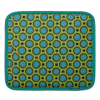 retro turquoise green circle pattern sleeves for iPads