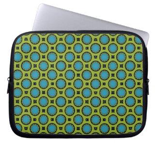 retro turquoise green circle pattern laptop computer sleeve