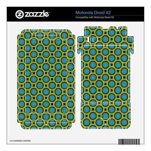 retro turquoise green circle pattern motorola droid x2 skin