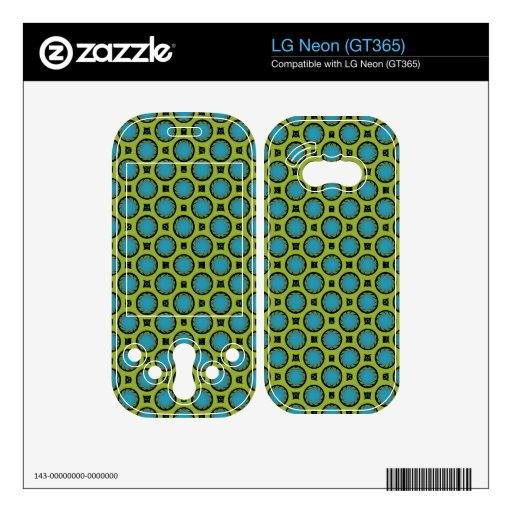 retro turquoise green circle pattern decal for the LG neon
