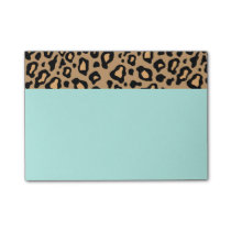 Retro Turquoise Office Leopard Print Post It Notes