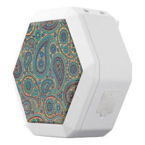 Retro Turquoise Paisley motif White Bluetooth Speaker