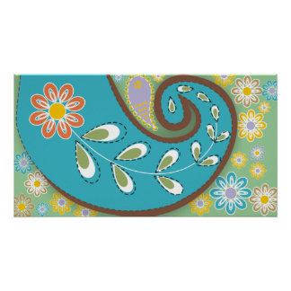 Retro turquoise paisley with flowers poster