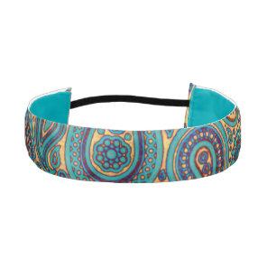 Retro Turquoise Rainbow Paisley motif Athletic Headband