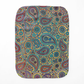Retro Turquoise Rainbow Paisley motif Baby Burp Cloth