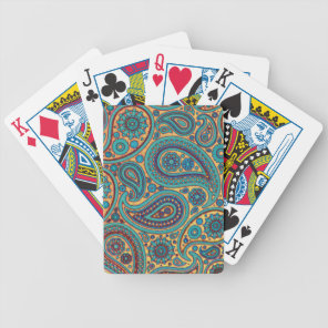 Retro Turquoise Rainbow Paisley motif Bicycle Playing Cards