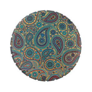 Retro Turquoise Rainbow Paisley motif Candy Tin