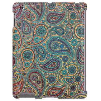Retro Turquoise Rainbow Paisley motif