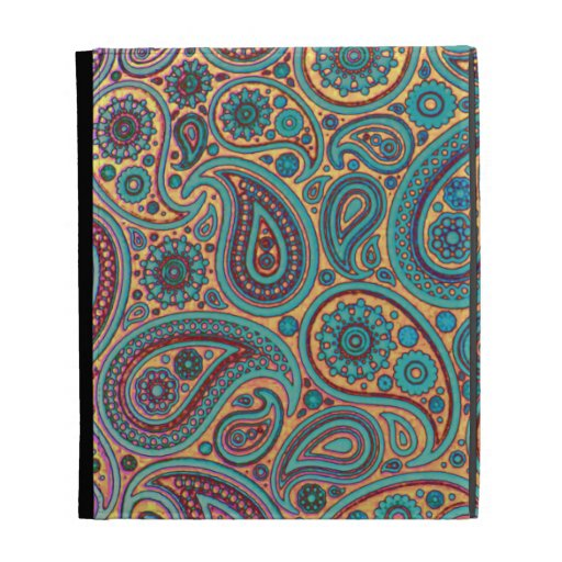 Retro Turquoise Rainbow Paisley motif iPad Case