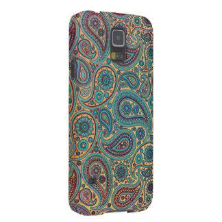 Retro Turquoise Rainbow Paisley motif Galaxy S5 Covers