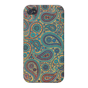 Retro Turquoise Rainbow Paisley motif Case For iPhone 4
