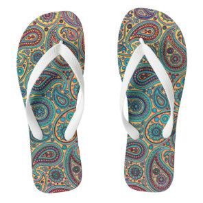 Retro Turquoise Rainbow Paisley motif Flip Flops
