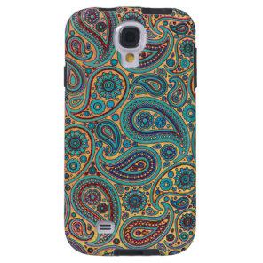 Retro Turquoise Rainbow Paisley motif Galaxy S4 Case