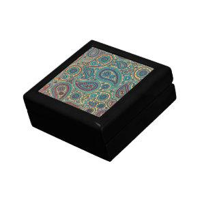 Retro Turquoise Rainbow Paisley motif Gift Box