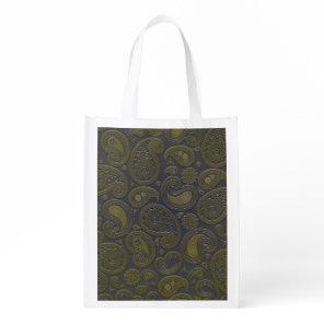 Retro Turquoise Rainbow Paisley motif Grocery Bag