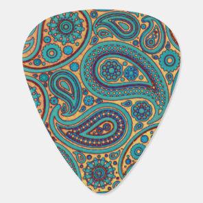 Retro Turquoise Rainbow Paisley motif Guitar Pick
