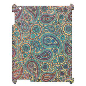 Retro Turquoise Rainbow Paisley motif iPad Covers