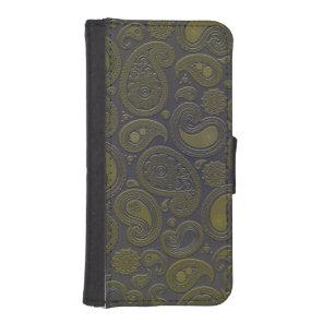Retro Turquoise Rainbow Paisley motif iPhone SE/5/5s Wallet