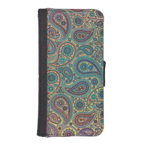 Retro Turquoise Rainbow Paisley motif iPhone SE/5/5s Wallet Case