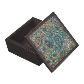 Retro Turquoise Rainbow Paisley motif Jewelry Box