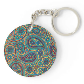 Retro Turquoise Rainbow Paisley motif Keychain