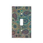 Retro Turquoise Rainbow Paisley motif Light Switch Plates