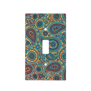 Retro Turquoise Rainbow Paisley motif Light Switch Cover