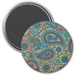 Retro Turquoise Rainbow Paisley motif Magnet