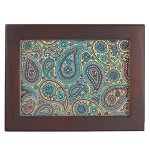 Retro Turquoise Rainbow Paisley motif Memory Box