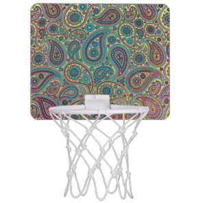 Retro Turquoise Rainbow Paisley motif Mini Basketball Hoop